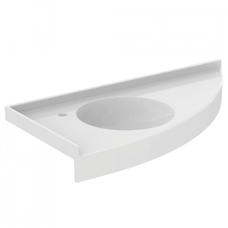 lavabo porcher  plan d angle à gauche pmr